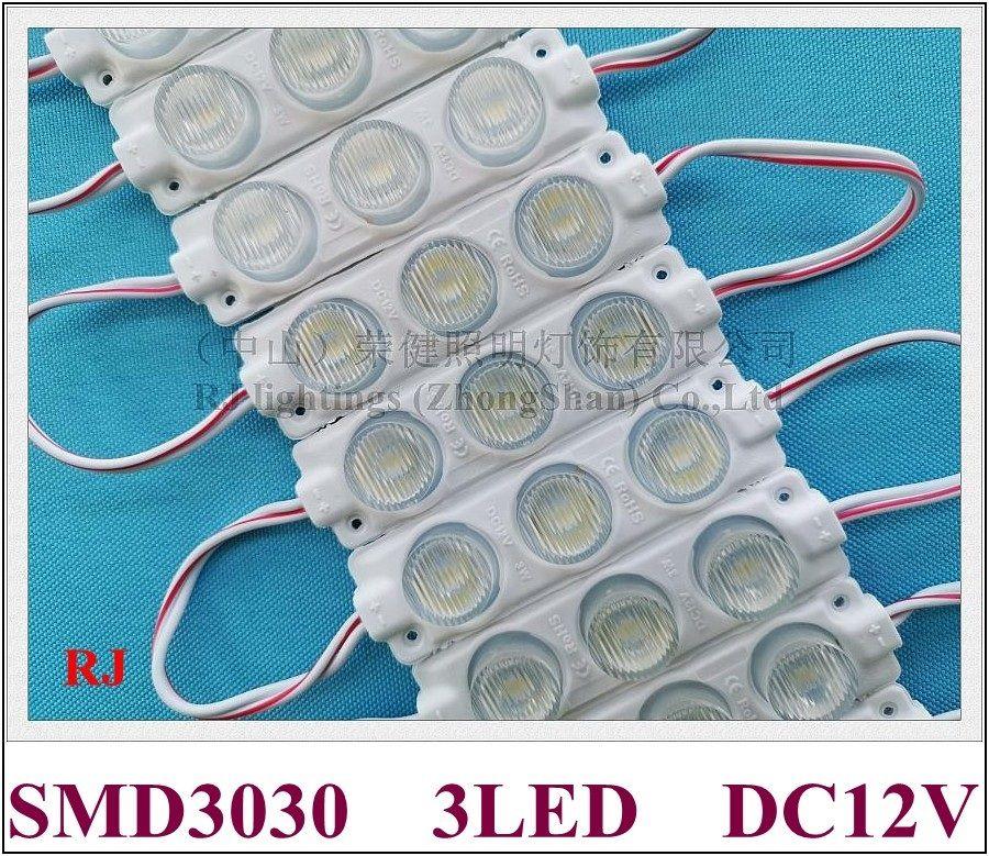 Luz de la lámpara del módulo LED con lente DC12V 75mm * Ángulo de haz de 20 mm verticalmente 15 grados y horizontalmente 45 grados IP65 SMD 3030 3 LED 3W para cajas de iluminación publicitarias