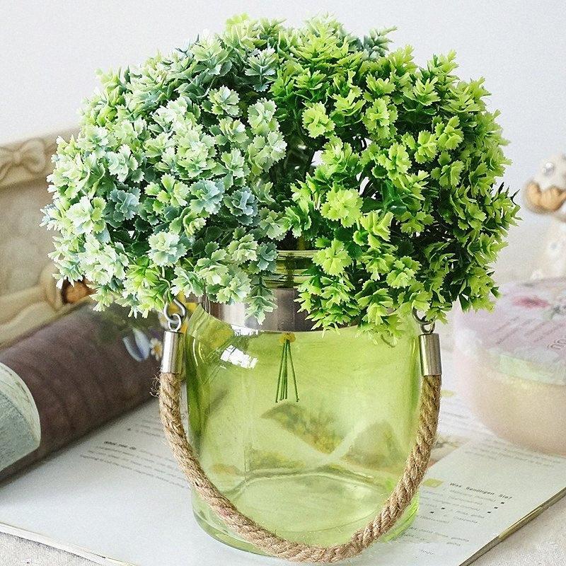 1Bunch artificielle plante verte herbe Ginkgo pour la table Décoration plastique bricolage faux plantes arrangement fleur faux feuillage ATML #