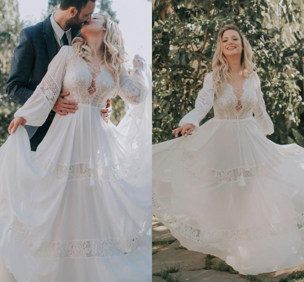 Gótico Hippie del estilo rural vestidos de boda de Boho 2021 manga larga de encaje una línea vestidos de novia de longitud de Bohemia Vestidos de boda AL6692