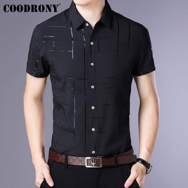 COODRONY manga corta Camisa Camisa Masculina 2019 Cool Summer camisa de los hombres negocio Ropa Camisas ocasionales Chemise Homme S96033 CX200717