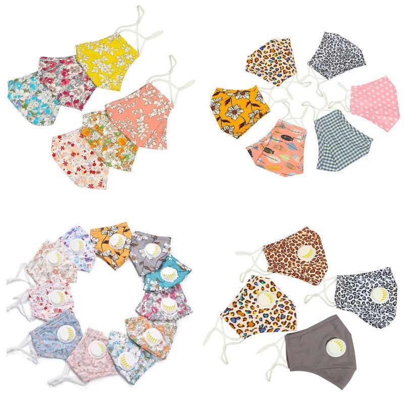 Floral Cotton Mask Erwachsene Kinder PM2.5 Staubdichtes Gesichtsmaske Waschbar wiederverwendbare Baumwolle Anti-Staub Anti Smog Masken