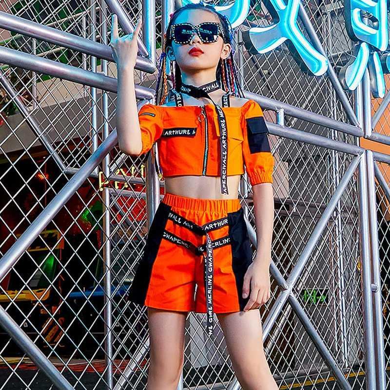 2020 Meninas Jazz Costumes Hip Hop Crianças Top Curto Shorts Rua dança roupas Ballroom Rave Dance Performance Stage Outfit BL4303
