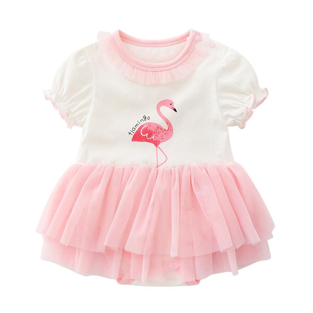 Babys Kleidung Sommer Flamingo Triangle Shortsleeved Baumwollspielanzug Rock 0-12 Monate Overall