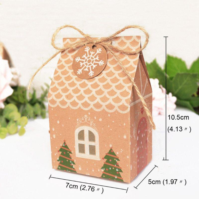 Forma dei 5 pc Kraft Paper House con sacchetti regalo Candy Corde albero di Natale D0LD