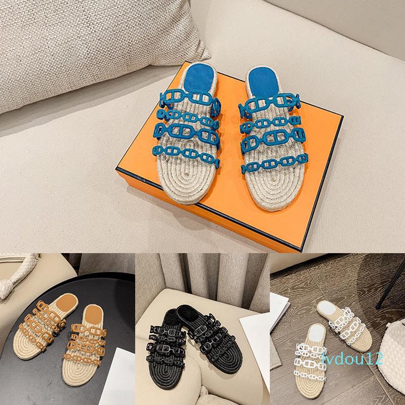 nero bianco blu catena di vendita calda delle donne di pantofole di lusso paglia tondo testa piana dei sandali di alta qualità formato 35-40