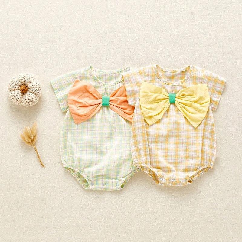 Yenidoğan Bebek Kısa Kollu O-Boyun Ekose Genel Moda Giyim Kıyafet İnce kesit IhFx # romper Bebek Romper Kızlar