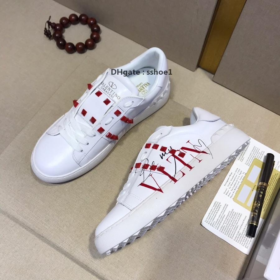2020-2019 новые мужские и женские кожаные граффити низкой, чтобы помочь заклепками обувь тенниса ботинки спортов способа заклепок ботинок оригинальные б