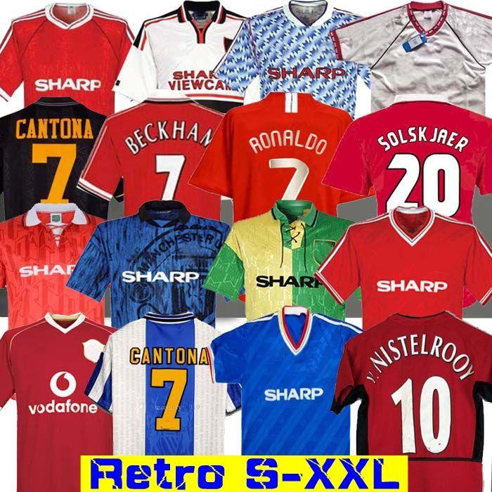 Retro 2002 United Soccer camisa de futebol MAN Giggs SCHOLES Beckham RONALDO CANTONA Solskjaer 06 07 08 Manchester 94 96 97 98 99 86 88 1990