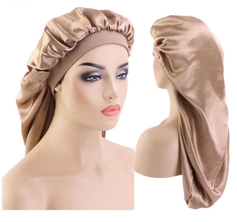 65cm Ekstra Uzun İpeksi Saç Gevşek Cap Toptan C340 baskılı Örgü Sıcak Kadınlar Saf renk için Saten Bonnet Uyku Cap Uzun Bonnet taklit