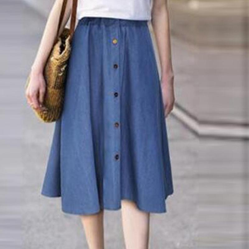 2020 neue Art und Weise Frauen-elegantes Fest Farbe Plissee mit hohen Taille A-Linie einreihig Buttons beiläufige Damen festen lange Fit Röcke