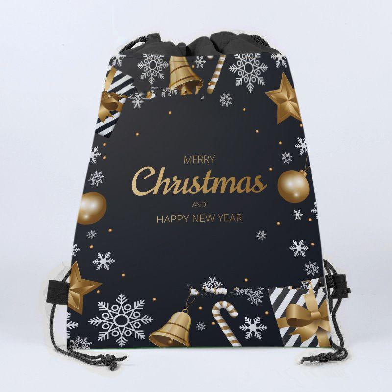 1 unids mochila con cordón tema Mochila Fiesta de cumpleaños No tejido Fabrics Regalos Decoración Bolsas de Navidad Festival de fiesta Merry Chamq