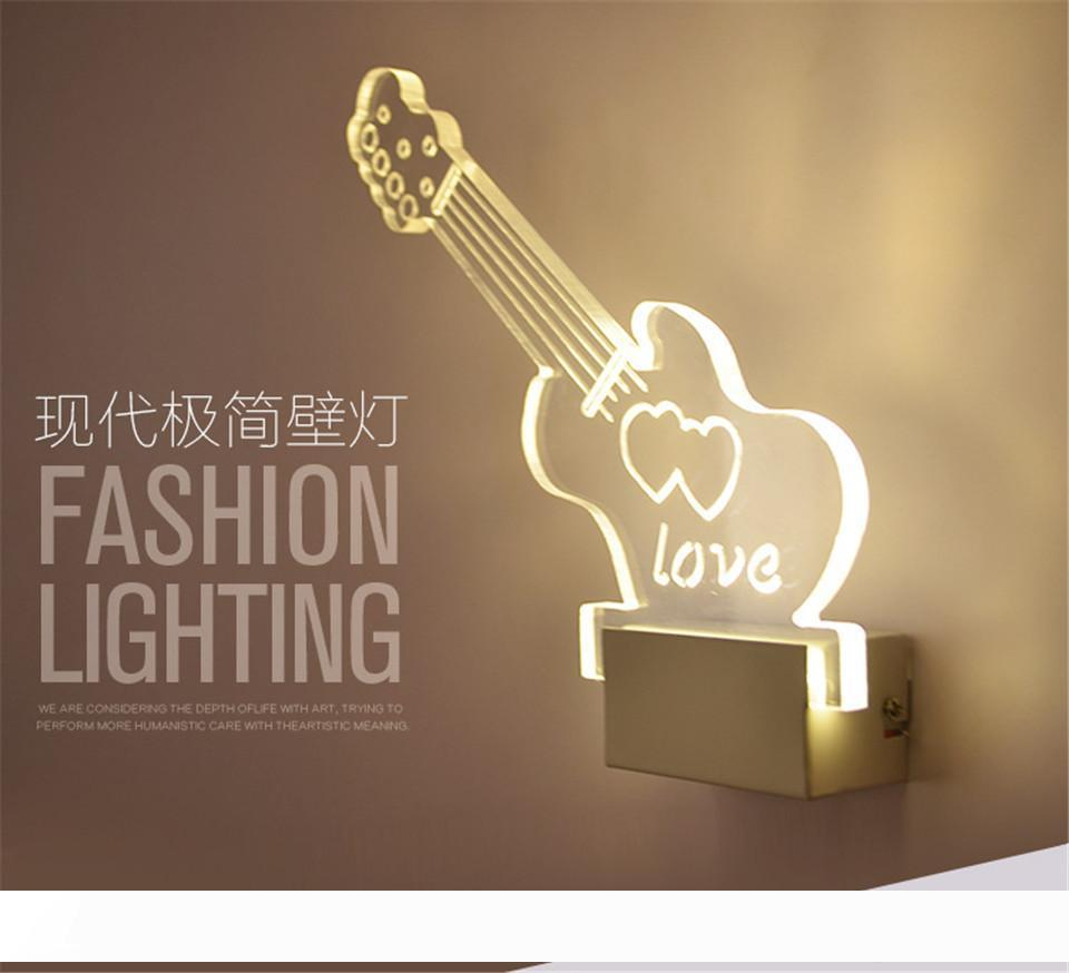 guitar wall lamp 3d night light art decoration for home acrylic led lights for living room