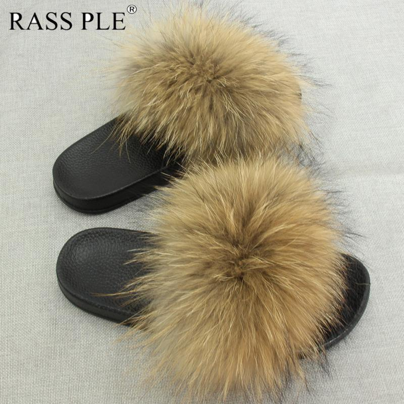 Plus Size Fur Slippers Winter Autumn Open Toe raccoon Fur Slides Beach Shoes Women's Furry Slippers For Bedroom