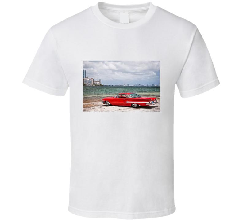 Tshirt T shirt Chevy Impala Chevrolet Retro Red Car Auto T shirt 1960 T-shirt