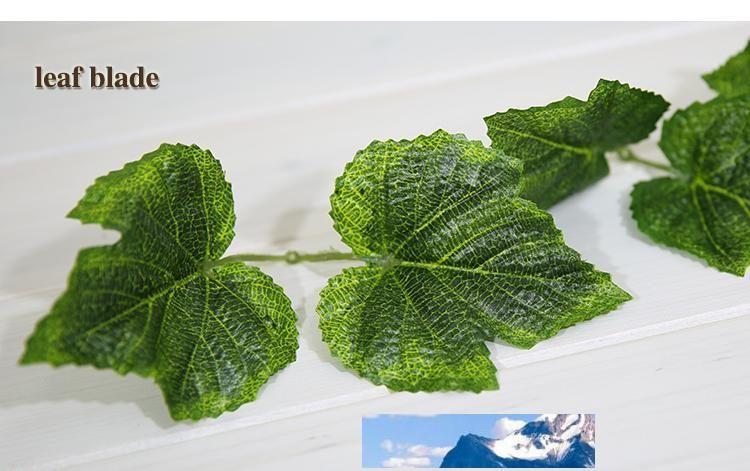 Festa de Natal 10pcs Artificial Silk Grape Leaf Garland Faux Vine Ivy Indoor / Outdoor Home Decor flor do casamento Folhas Verdes Natal