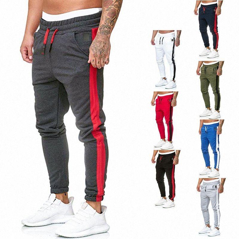 Herren Jogger Hosen Basisseitenstreifen Jogger Männlich Laufen Hosen Fleece Track 8 Farben erhältlich Mann dünne Spur L10B #