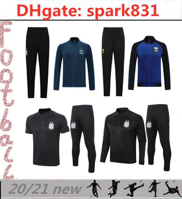 20 21 Argentina Futebol Tracksuit Jackets Kits 2020 2021 Survego Messi Kun Aguero Dybala Maradona Futebol Treinamento Terno Jacket