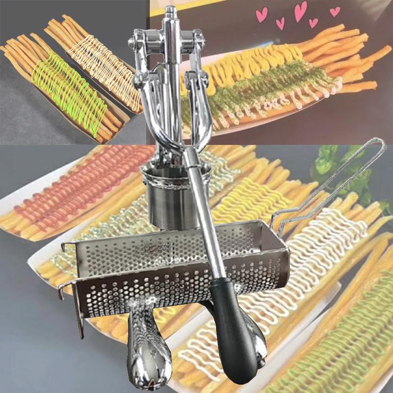 2020 yeni paslanmaz çelik 30cm delik patates kızartması makinesi, manuel patates kızartması bıçak, süper uzun patates kızartması makinesi