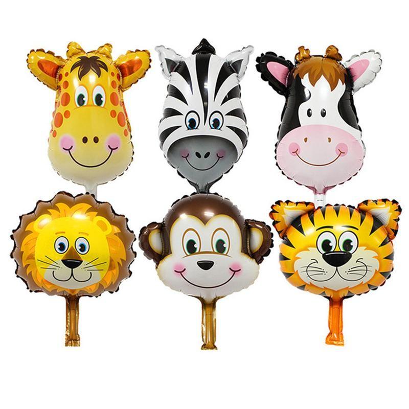 6PCS 파티 테마 동물 풍선 정글 파티 동물원 헬륨 포일 공기 풍선 어린이 생일 파티 장식 baloon입니다 키트 발론