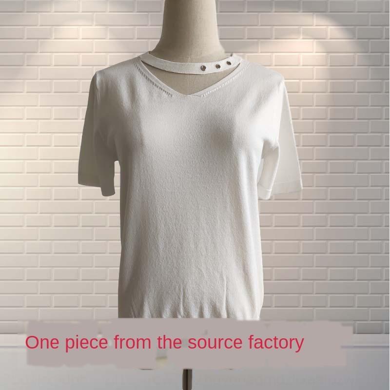 KJjdf fabbrica estate merci V delle donne girocollo a manica corta piccole singolo proofing beni di fabbrica estate V girocollo Maglieria knitwe delle donne