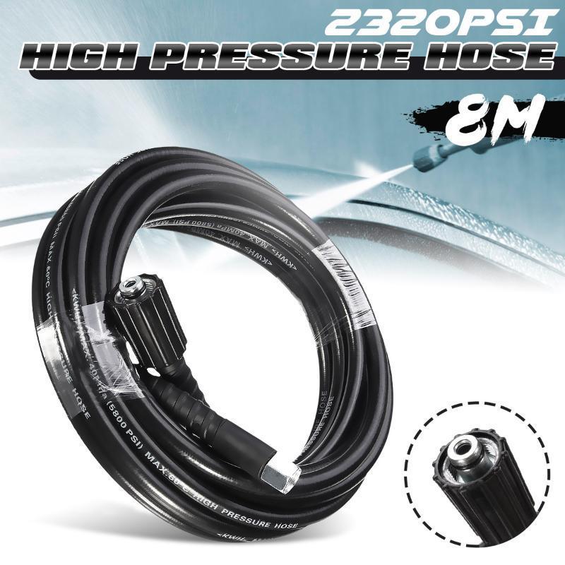8 mètres 2320psi 160bar Nettoyeur haute pression Tuyau Tuyau de nettoyage de voiture Extension tuyau d'eau Karcher haute pression Nettoyeur