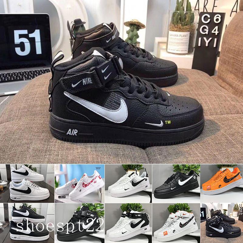 nike air force 1 one Af1 Unos zapatos alta corte bajo Blanco Negro al aire libre Formadores las zapatillas de deporte de los hombres de alta calidad del monopatín bajo barato del n