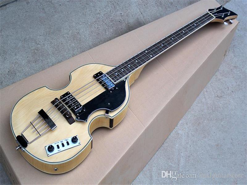 Yeni gelen! Siyah Pickguard, Gülağacı Klavye, Alev Akçaağaç Kaplama ile 4 Dizeler Elektrik Bas Gitar, Özelleştirilebilir