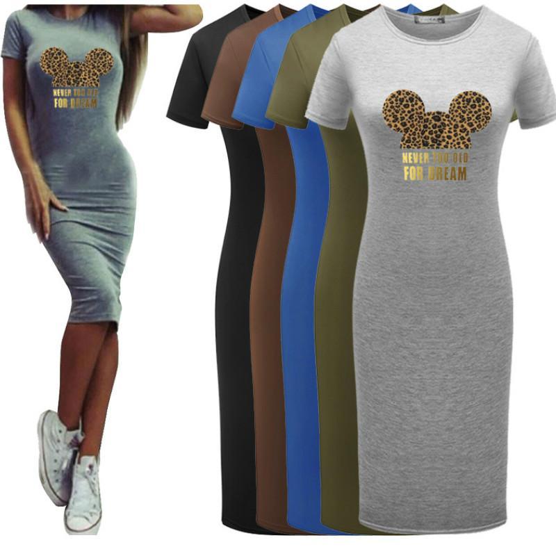 Womens Designer Fashion Mouse modèle 2020 Robes d'été New Impression Leopard T-shirts en gros Vêtements Diy 5 couleurs Bodycon