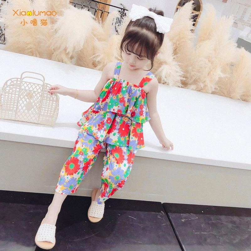 Flower set crianças TiKToK roupa colorida de tamanho grande algodão macio 2020 set verão para meninas da criança parte superior do tanque de roupa por atacado Qlla #