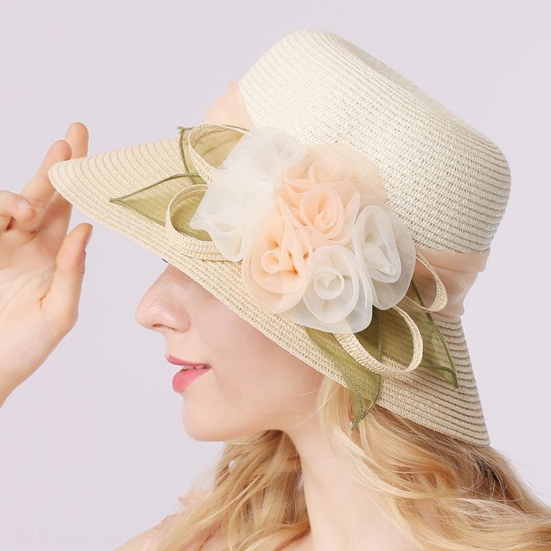 tlove feminino verão coreana palha flor slim sol de palha praia protetor solar chapéu chapéu de sol feminino 3015