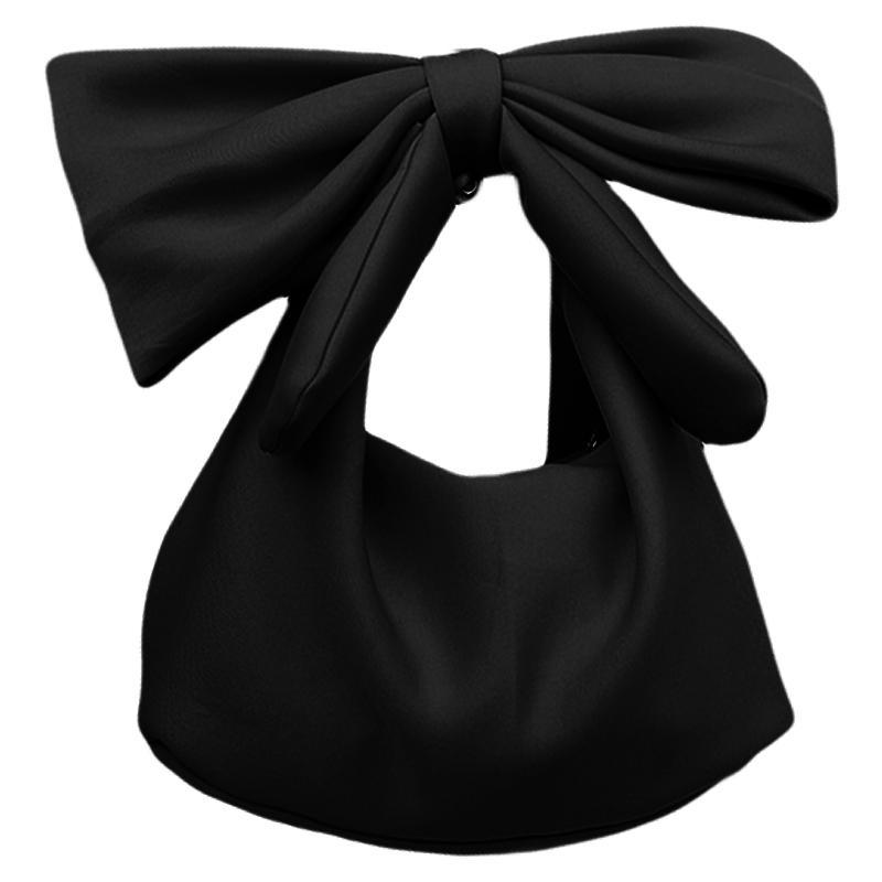 JHD-Damen Handtaschen Schulter Handtasche Tasche Party Tasche (Schwarz) Bowknot Clutches Abend Damen Kupplungen MBDUH