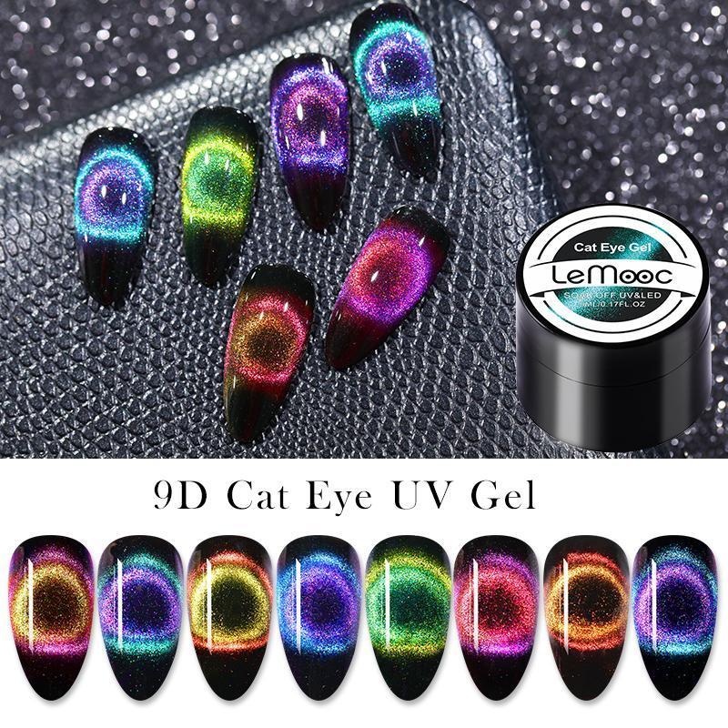 Lemooc 9D القط جل العين البولندية مجموعة المغناطيسي للأشعة فوق البنفسجية هلام الصبغ مع قاعدة الأسود عصا تحتاج الا نقع أوف الأشعة فوق البنفسجية اللك