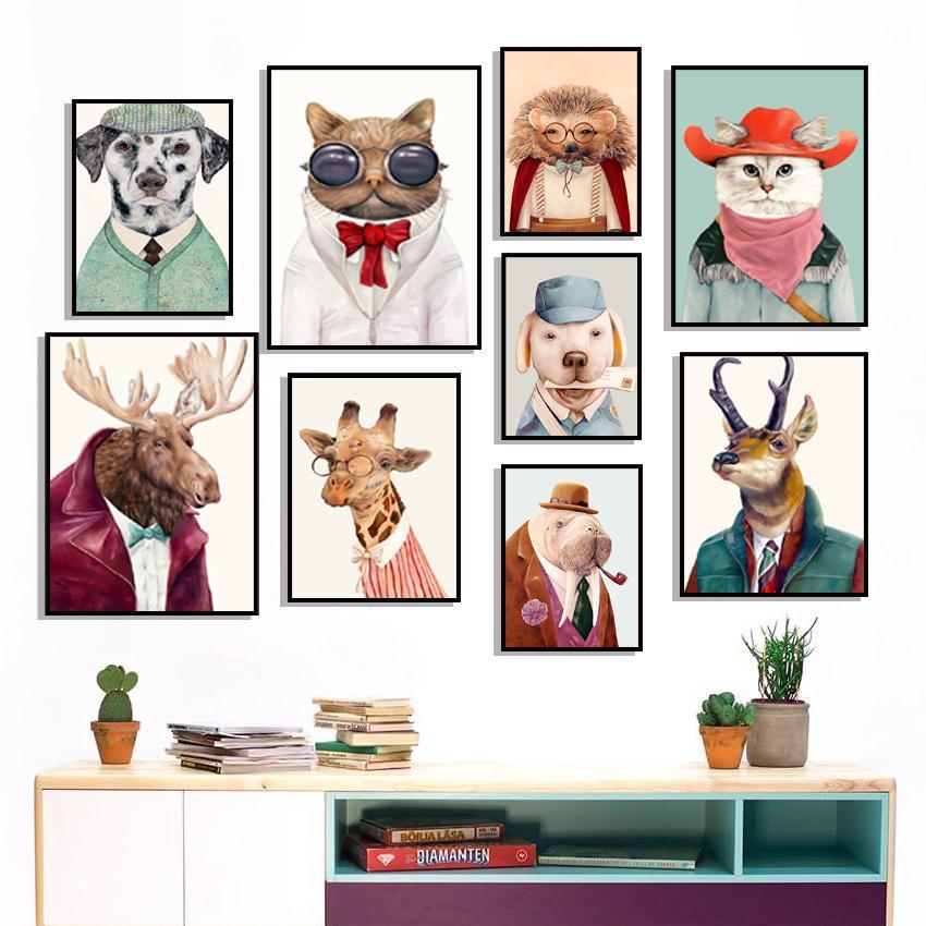Moose Cane Gatto Gufo Giraffa Riccio di arte della parete della tela di canapa pittura nordica di poster e stampe Camera Animal parete Immagine Kid decorazione domestica del bambino