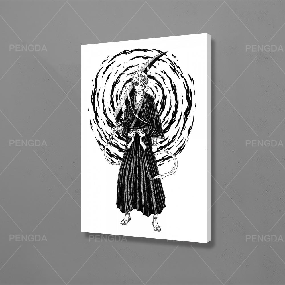 Wall Art Home Decor Black and White Hd Print Classic Anime Role Modular Picture Minimalist Posters Canvas Painting Bedroom Frame