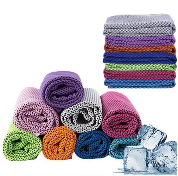 Esporte Toalhas Double Layer Ice Cold desporto Toalha Quick Dry respirável Toalha refrigerando Verão Anti Insolação Sports Towel LSK268