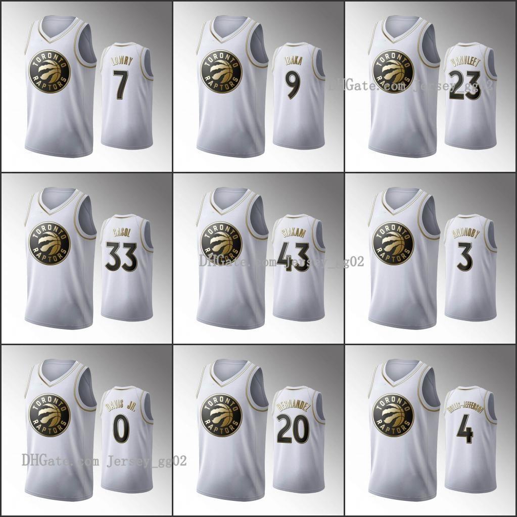 TorontoRaptorsMänner Pascal Siakam Serge Ibaka Fred Vanvleet Marc Gasol WeißNBA 2020 Golden Edition Custom Basketball Jerseys