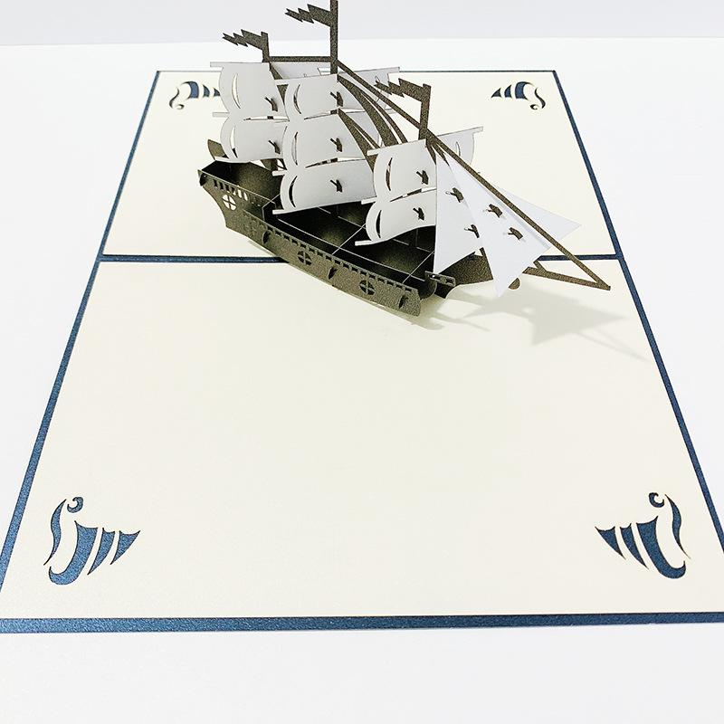 Wedding Invitation Card Brave The Wind And The Waves 3D Sailboat Hollow Laser Cut Wedding Invitataion