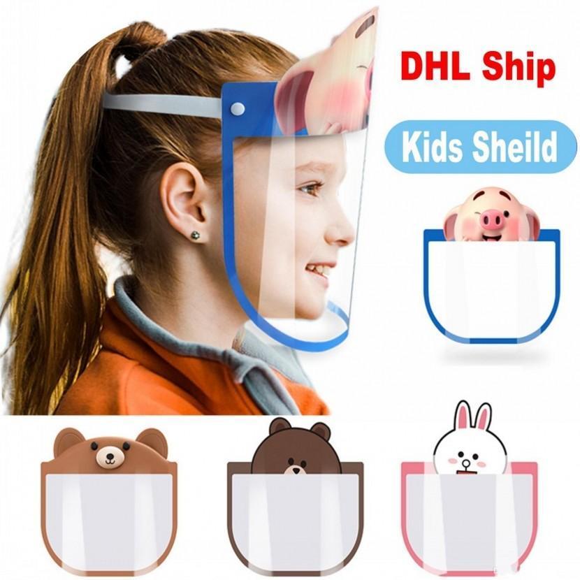 Protector de la cara de los EEUU Stock Kid de dibujos animados máscaras protectoras transparentes a prueba de polvo anti-niebla de la cara llena de polvo anti del protector a prueba de viento de PET FY8037 Máscara