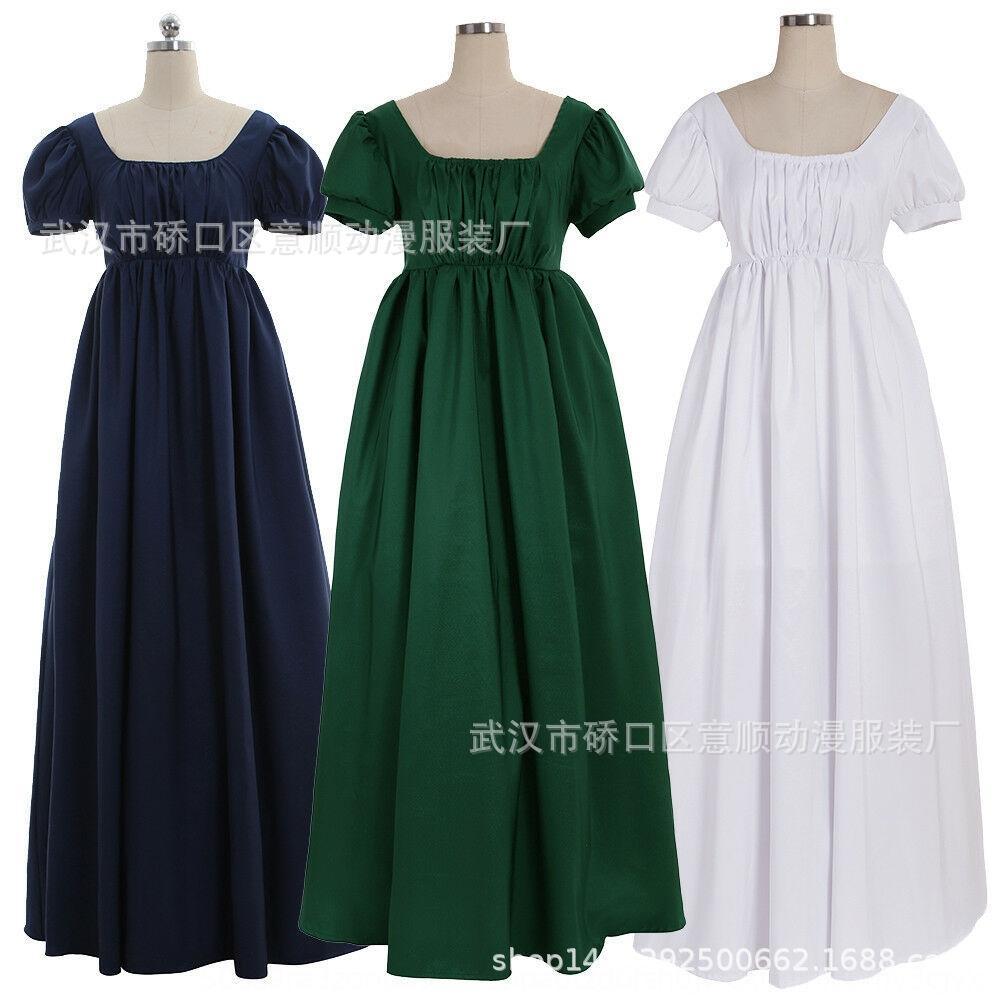 Regent Resmi elbise topu Kadın Yüksek bel çay Ortaçağ Regent Resmi elbise topu Kadın elbisesi Yüksek bel çay Ortaçağ cüppe