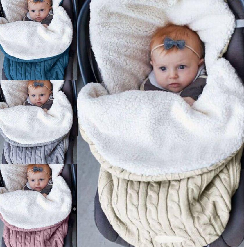 Bebê Swaddle Blanket Enrole recém-nascido saco de dormir quente quente malha velo Stroller Sack Knit Crochet Inverno saco de dormir KKA7985