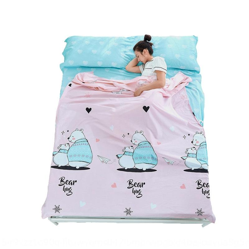 Bolsa de dormir del revestimiento puro Bolsa de sueño Viaje Soltera de camas individuales y doble sucia Hoja de cama de algodón Bolsa adulta Bed de hotel Viajes Portátil JWCVI