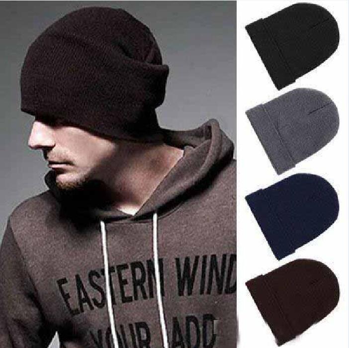 Las ventas calientes clásica para hombre mujeres de las señoras de gran tamaño de punto Slouch Beanie Beanie sombrero del cráneo gorras negras grises 12pcs café azules