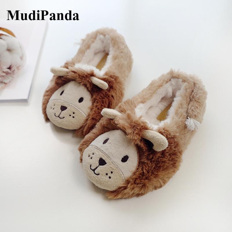 MudiPanda Kind-Winter-Tierhausschuh Startseite 2020 neuer Kleinkind-Schuh-Kind-Junge-Fleece Warm Innenfußboden Schuhe Non-Slip