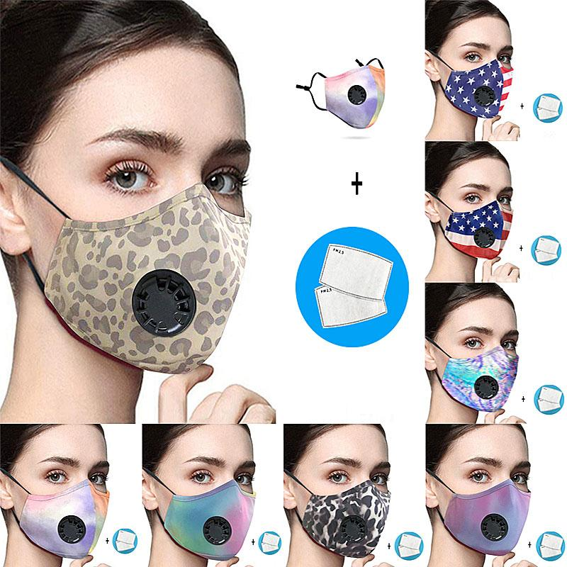 Gesichtsmaske Anti-Staub Earloop mit Atemventil Einstellbare Wiederverwendbare Mode Masken weiche Breathable Anti-Fog-Schutzmasken AHB599