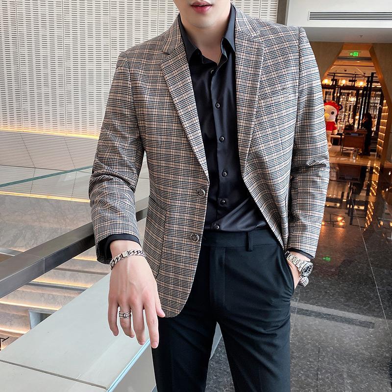 Coreano plaid casuale di affari Giacca Slim Fit Uomini Blazers sposa sposo abito cappotto sociale Streetwear Abbigliamento Veste Homme
