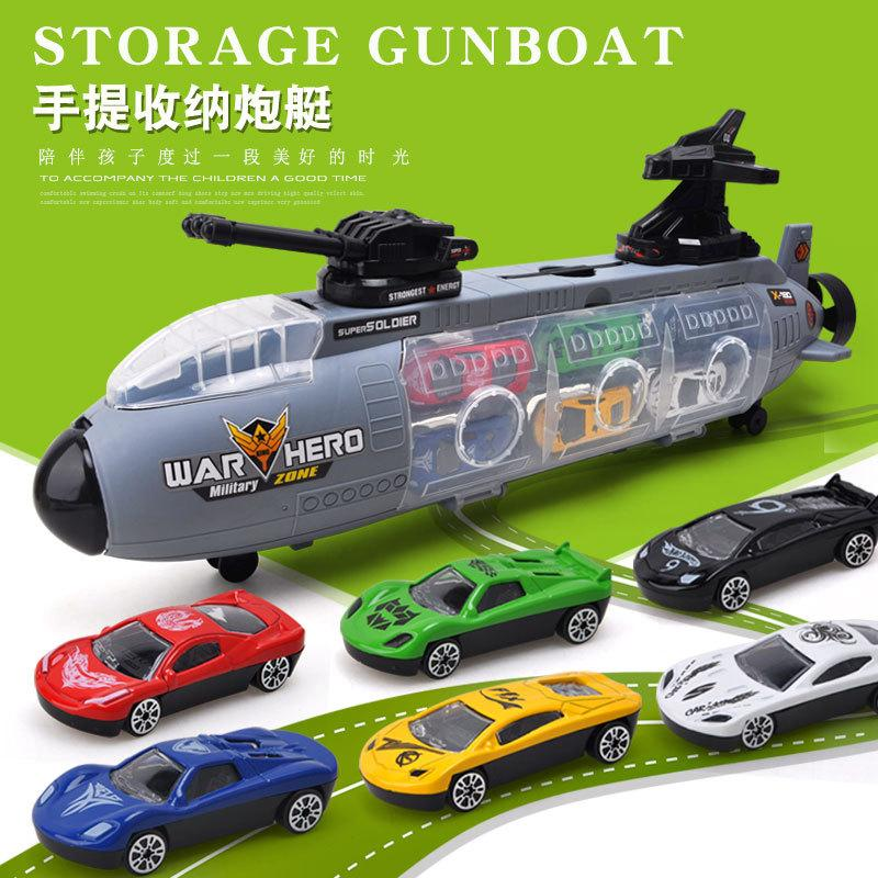 Childrens Toy Lingsu scorrevole Nave da guerra sottomarino con Military Car lega serbatoio auto Modello Boy regalo