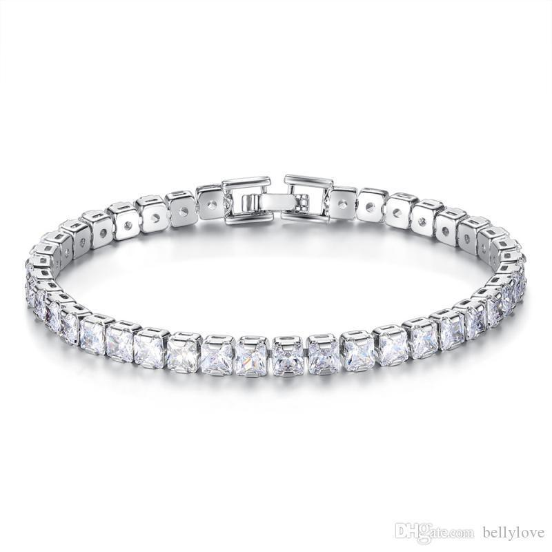 Gioielli di moda del braccialetto delle donne dell'oro bianco 18K 19 centimetri Piazza Sparkling CZ Bracciale tennis Pulseira Feminina costume per Lady