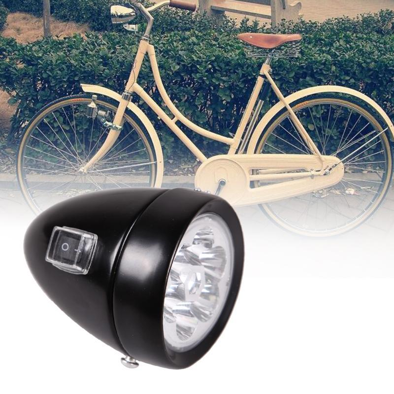 New Waterproof Bicycle Bike Retro Accessory Front Light Bracket Vintage 6 LED Headlight Safety Bicycle Lights Black/Silvery hot