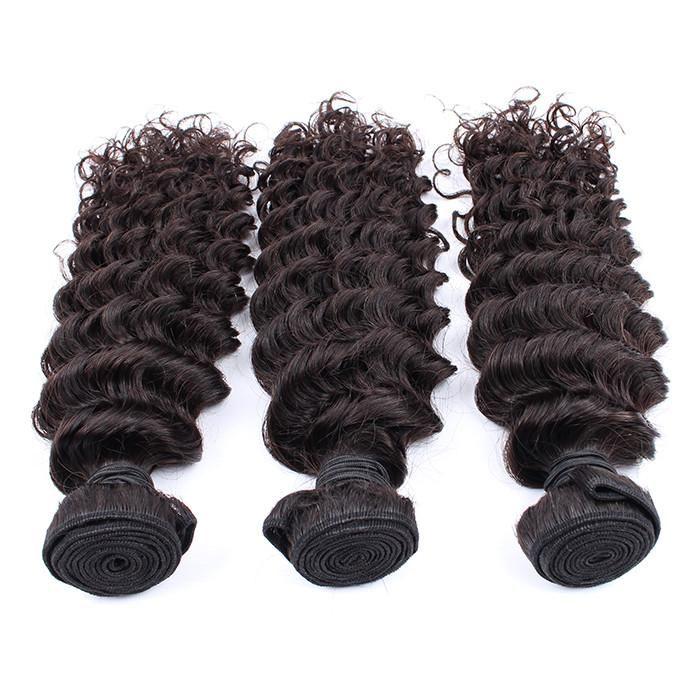 Elibess brasilianisches tiefes Wellen-Haar-Bundles UnprocessedCurly Remy Menschenhaar Weaves Natural Black 300grams Virgin Haar-einschlag