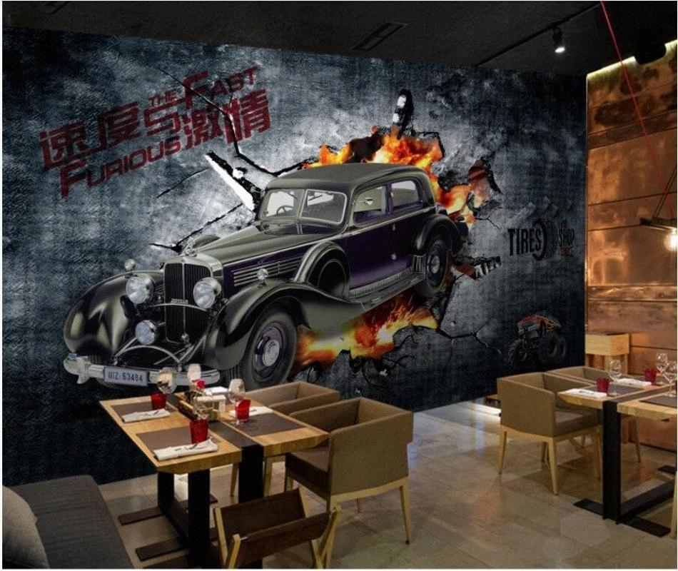 Custom Mural 3d Photo Wallpaper Nostalgic Vintage Car Broken Wall Home Decor 3d Wall Murals Wallpaper For Walls 3 D Living Room Cars W OCJA#